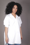 Oversized Puff Sleeve Button Up (White)