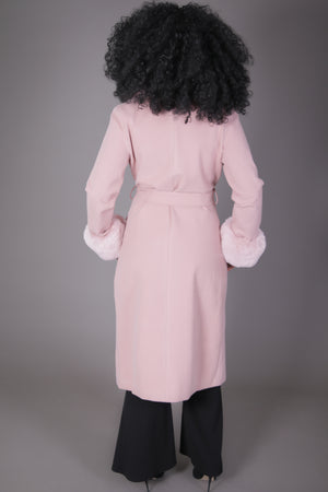Double Breasted Pea Coat with Fur (Blush)