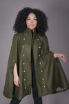 Double Breasted Wool Cape Coat (Green + Black)