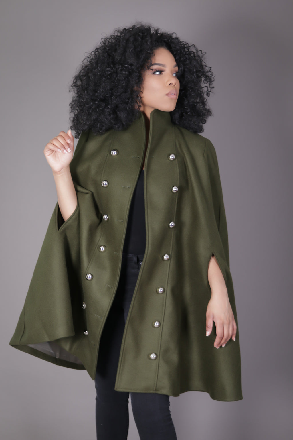 Double Breasted Wool Cape Coat (Green)