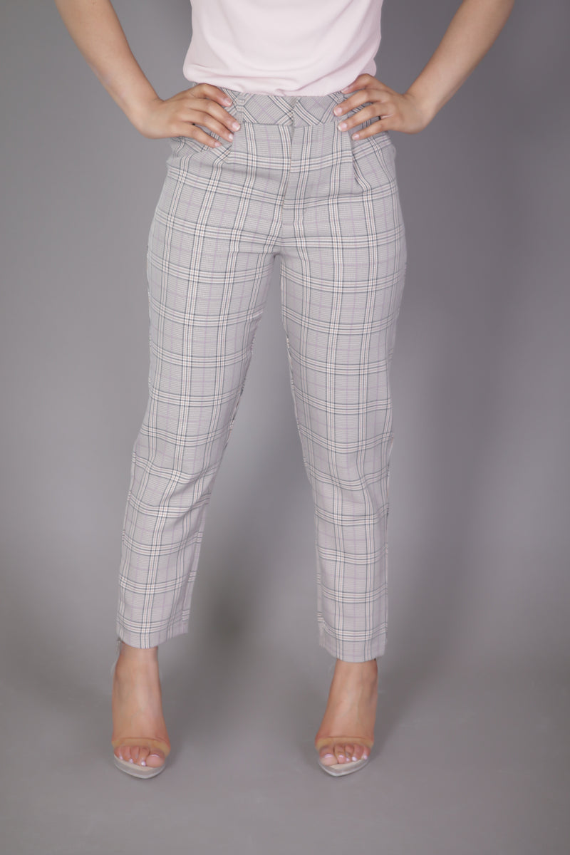 Plaid High Waist Ankle Pant
