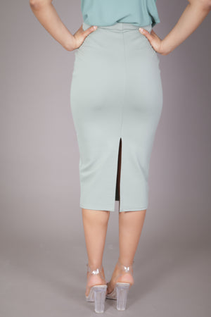 Midi Skirt with High Split (Mint Green)