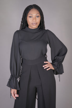 Mock Neck Tie Sleeve Blouse (Black)