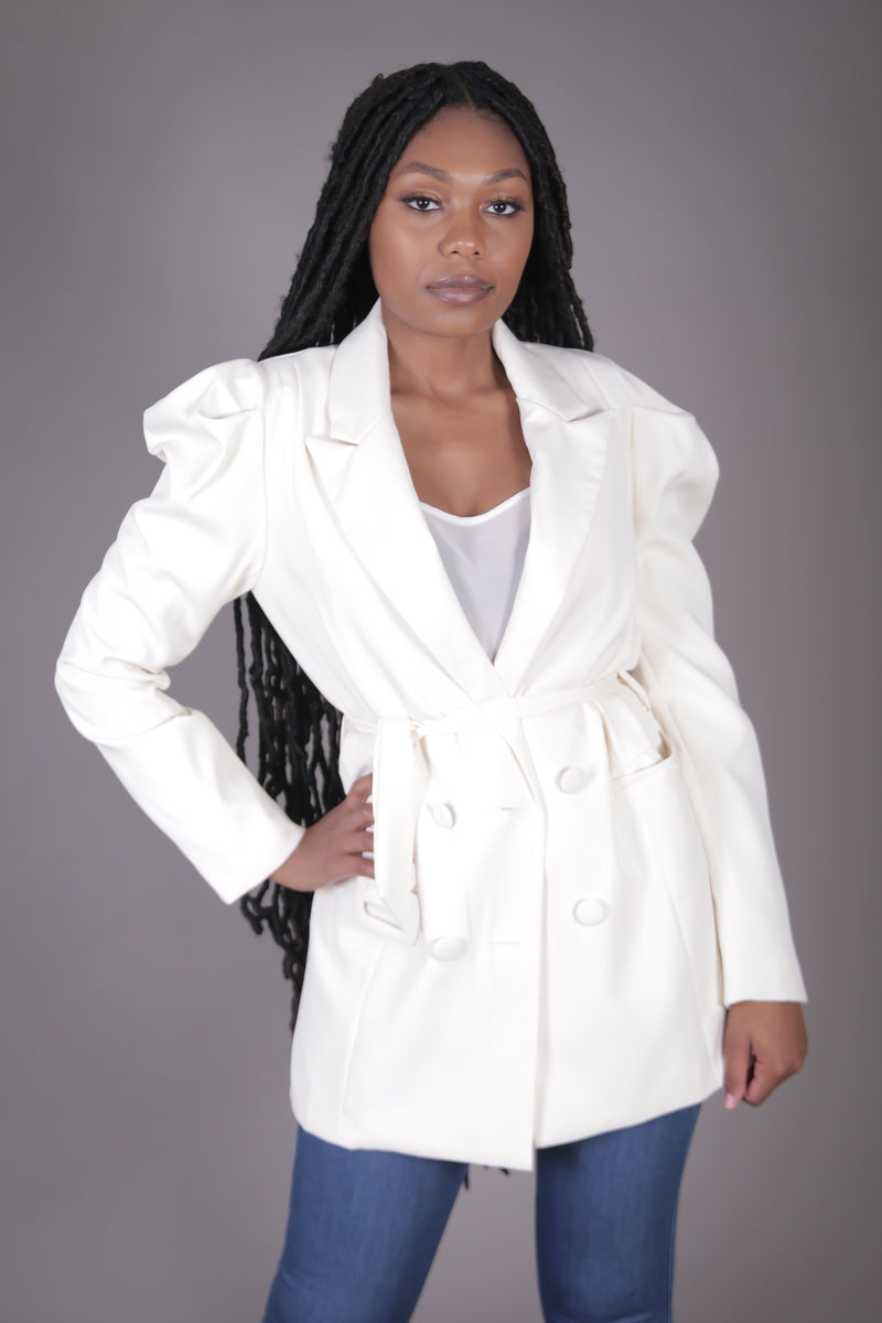 Double Breasted Puff Sleeve Blazer (Cream)