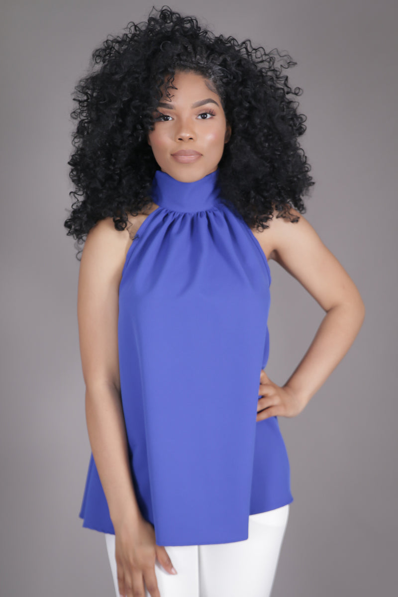 Halter High Neck Bow Top (Royal Blue)