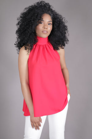 Halter High Neck Bow Top (Red)