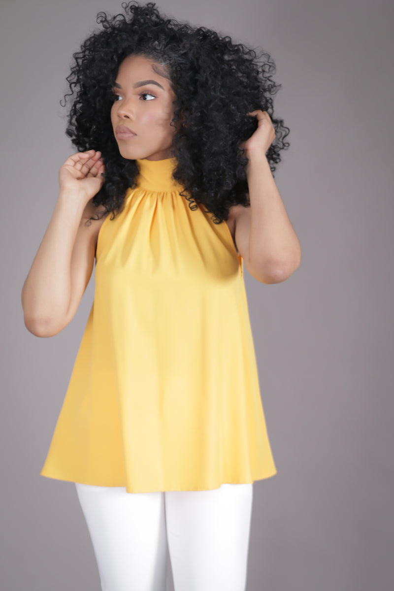 Halter High Neck Bow Top (Yellow)