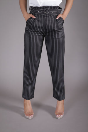 Paper-bag Pinstripe Pant (Black + White)