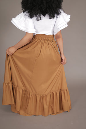 Flare Maxi Skirt w/ Pockets (Gold)