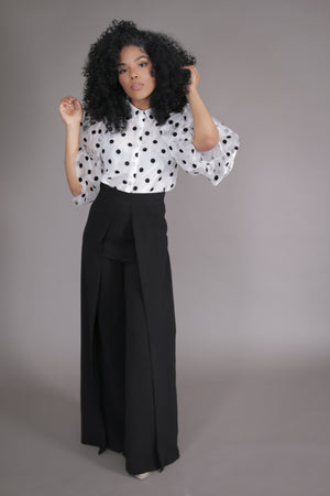 Organza Puff Sleeve Polka Dot Blouse (White)