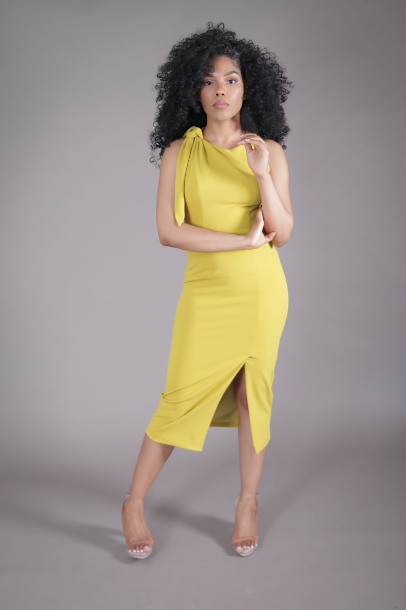 Open Back Midi Dress w/ Slit (Chartreuse)