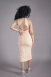 Open Back Midi Dress w/ Slit (Nude)