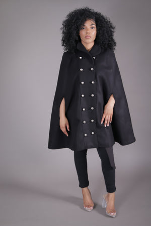 Double Breasted Wool Cape (Black)