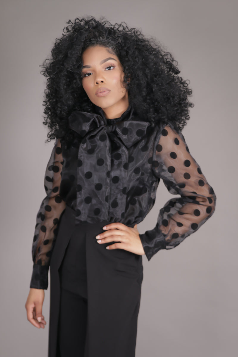 Organza Polka Dot Neck Tie Blouse (Black)