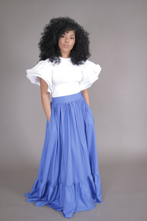 Flare Maxi Skirt w/ Pockets (Blue)