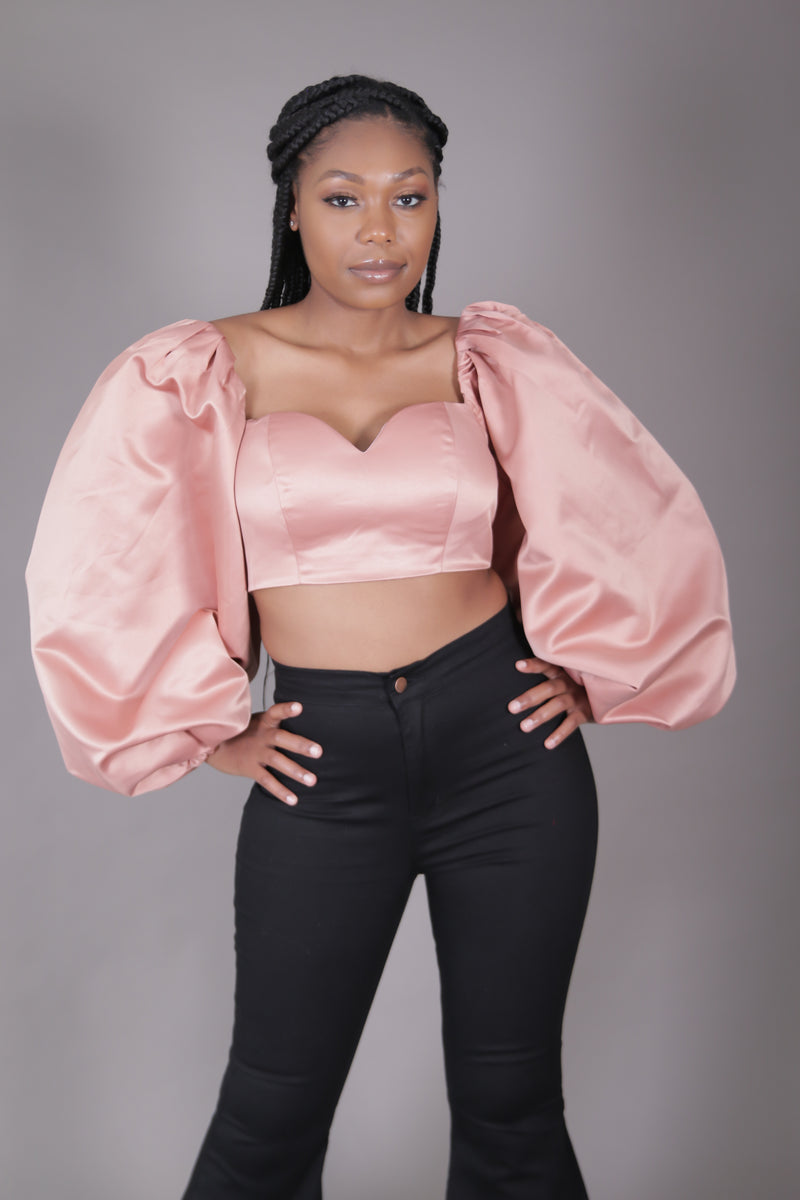 Dramatic Balloon Sleeve Crop (Blush)