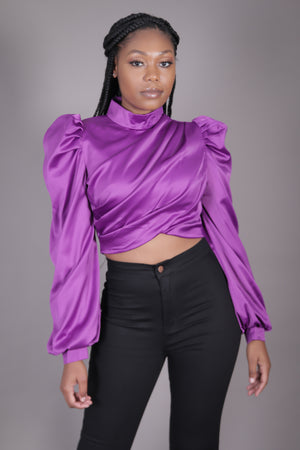 Purple Puff Sleeve Satin Crop