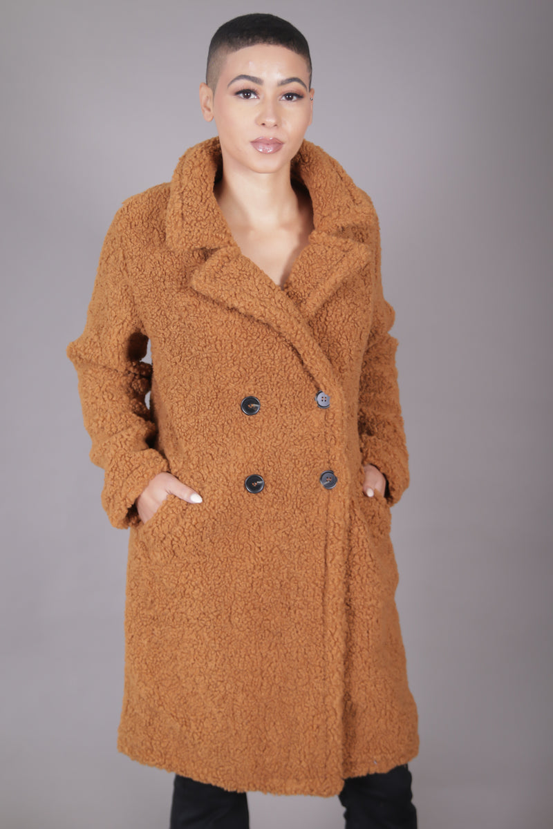 Faux Fur  Double Breast Teddy Coat
