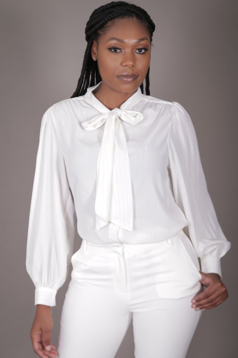 Ivory Neck Tie Blouse w/ Gold Stripes