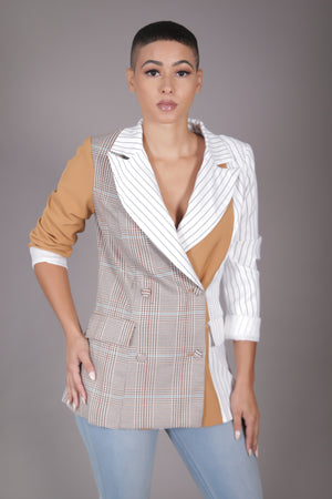 Double Breasted Contrast Print Blazer (Tan)
