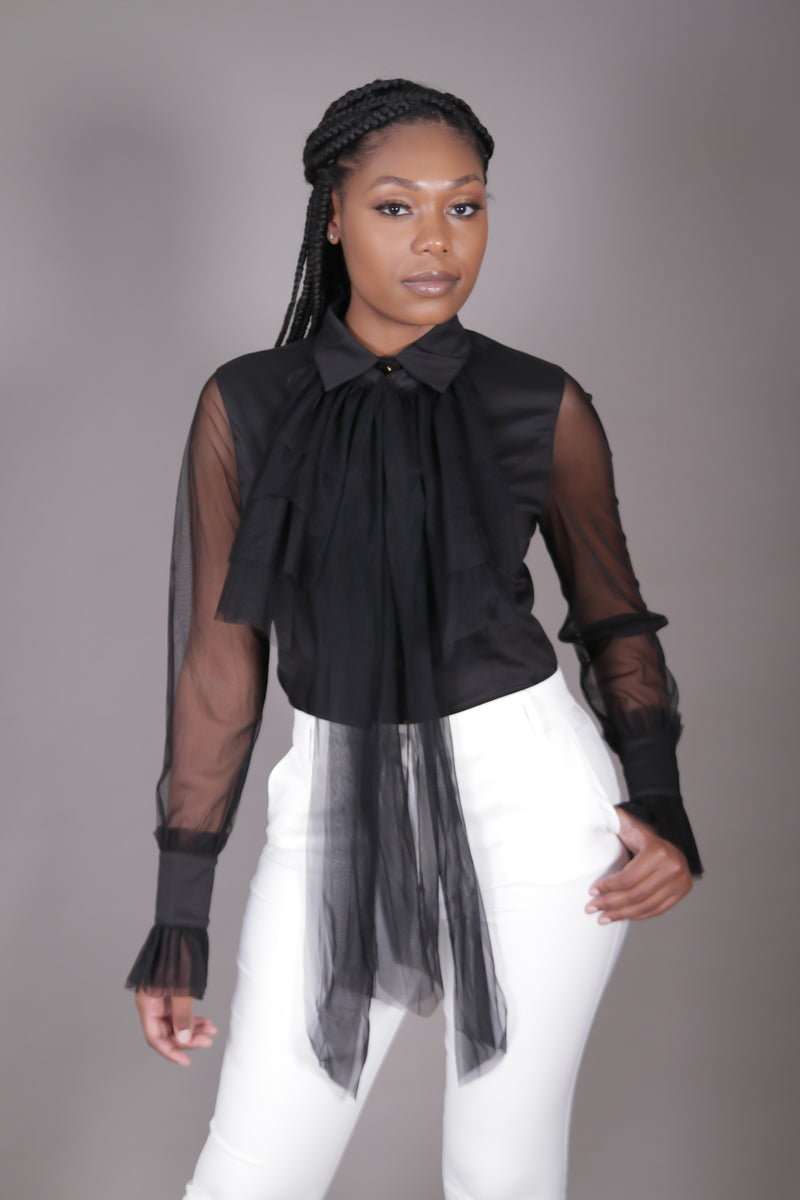 Black Top w/ Removable Jabot Collar