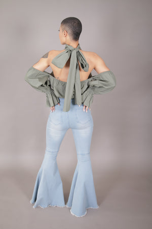 Cold Shoulder Halter Top w/ Open Back (Olive)