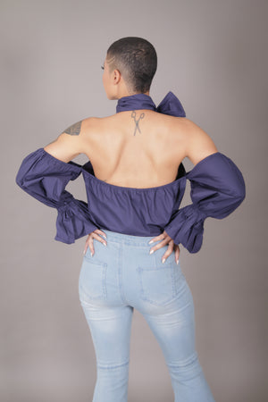 Cold Shoulder Halter Top w/ Open Back (Navy)