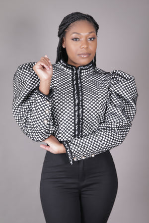 Puff Sleeve Tweed Crop Blazer (Black + White)
