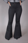 High Waist Wide Leg Black Denim