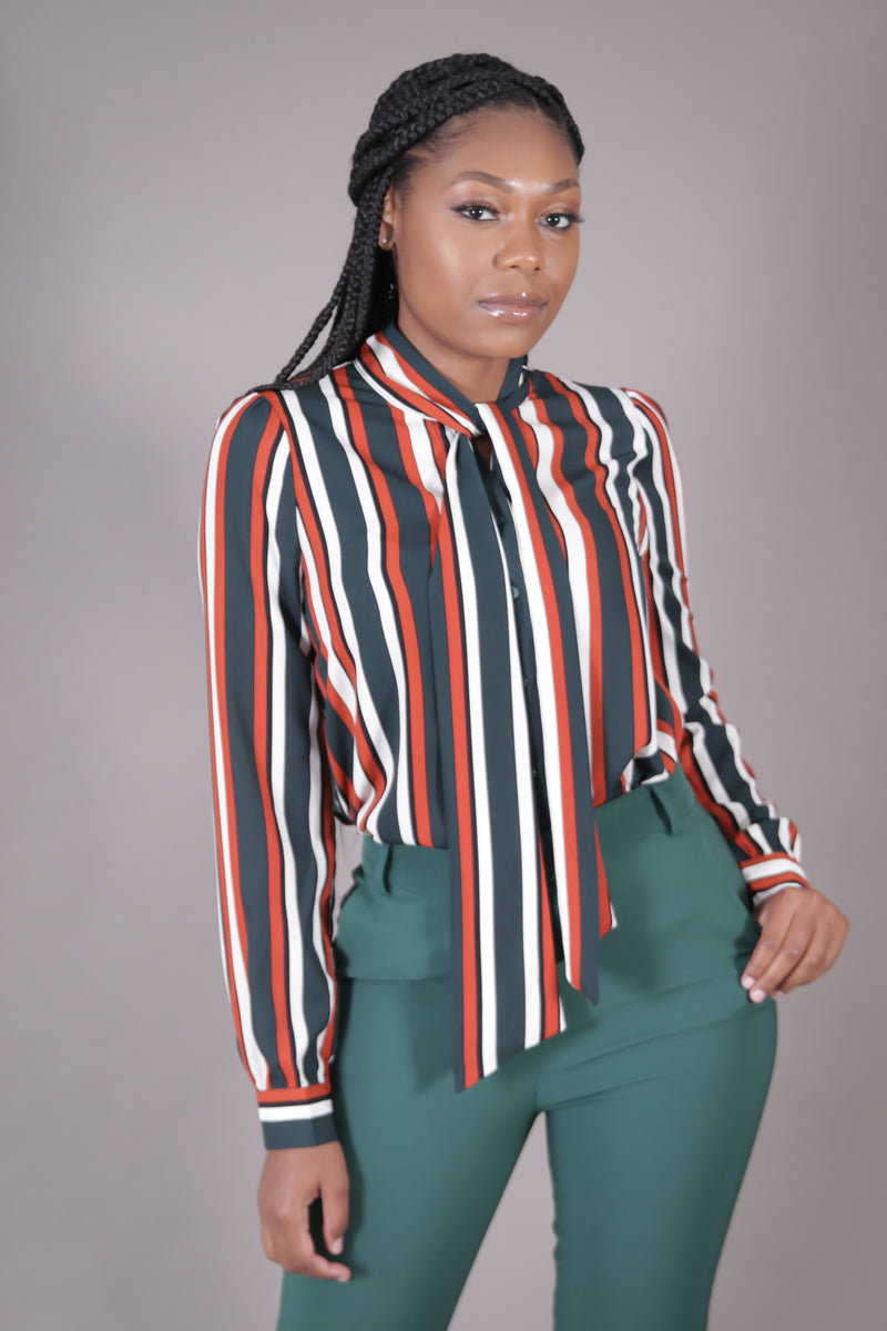 Green + Rust Neck Tie Blouse