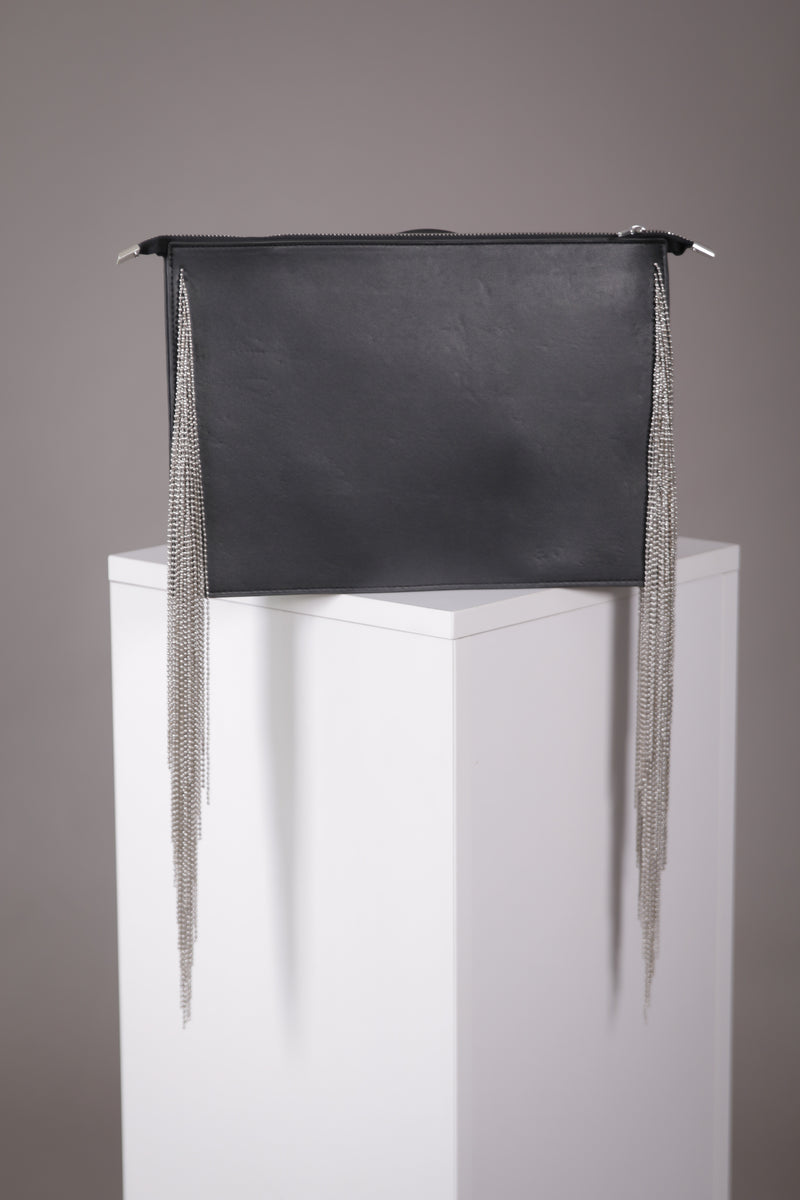 Black Clutch w/ Chain Fringe
