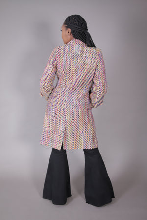Double Breasted Multi Color Tweed Coat