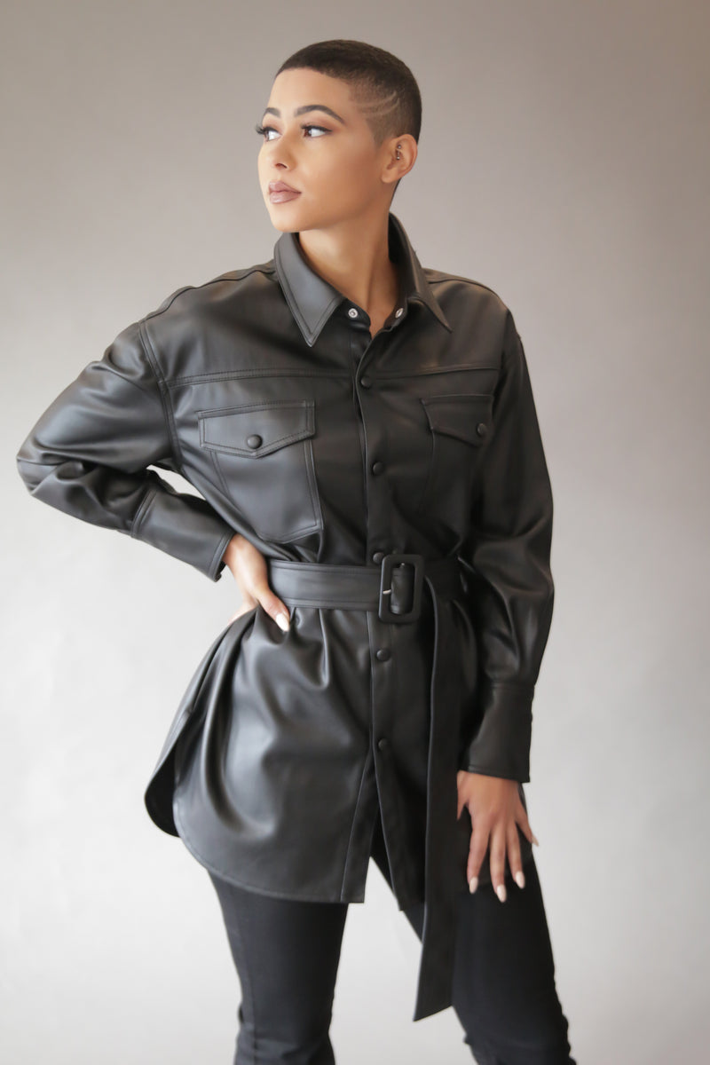 Leather Top w/ Belt (Black)