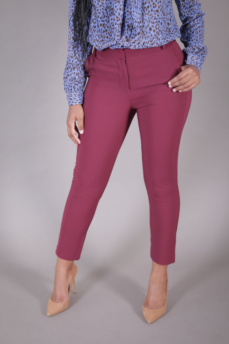 High Waist Cigarette Suit Pant (Wine)