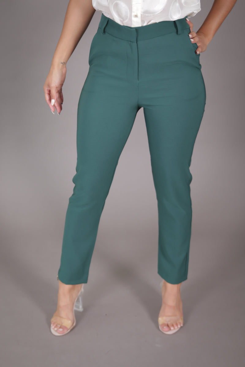 High Waist Cigarette Suit Pant (Hunter Green)