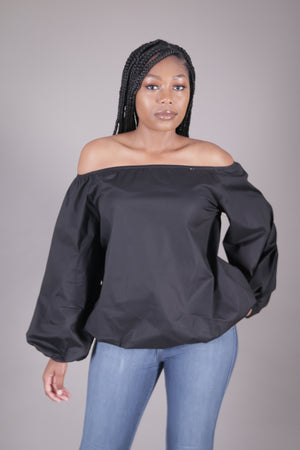 Black Off The Shoulder Bubble Sleeve Tunic