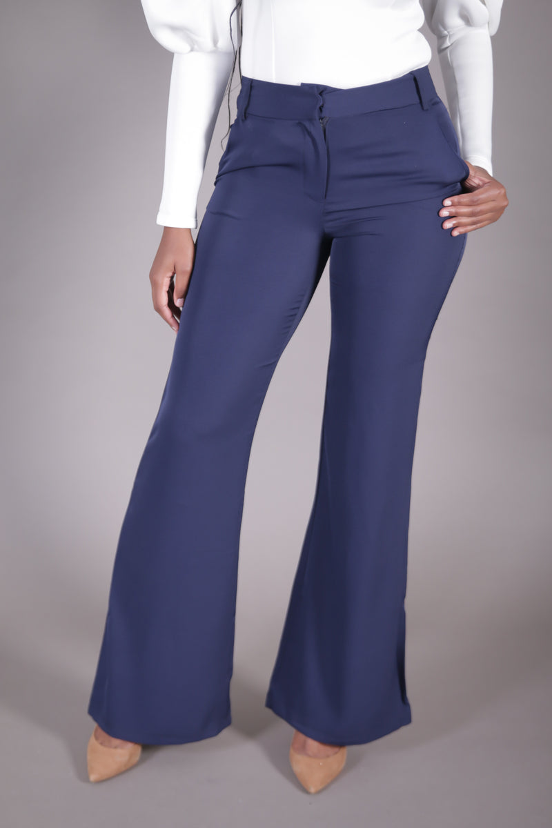 High Waist Wide Leg Suit Pant (Navy)