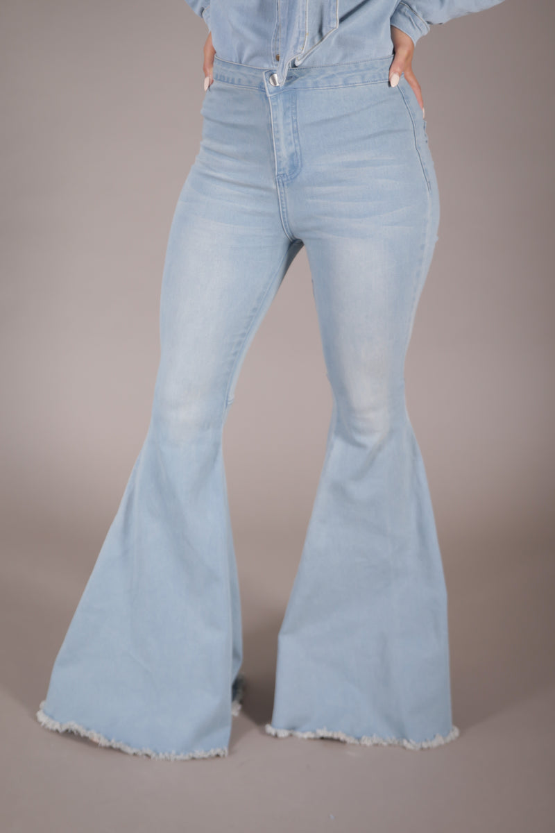 High Waist Wide Leg Denim (Light Wash)