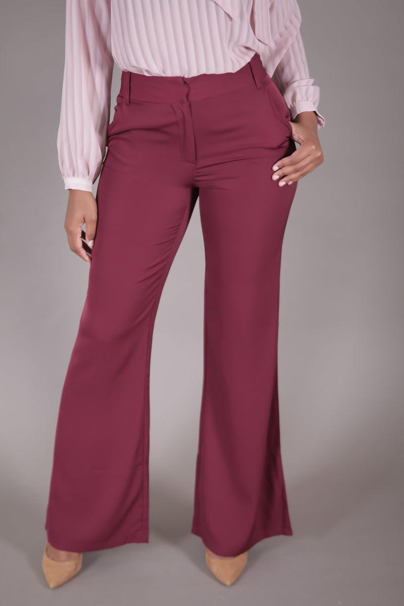 High Waist Wide Leg Suit Pant (Burgundy)