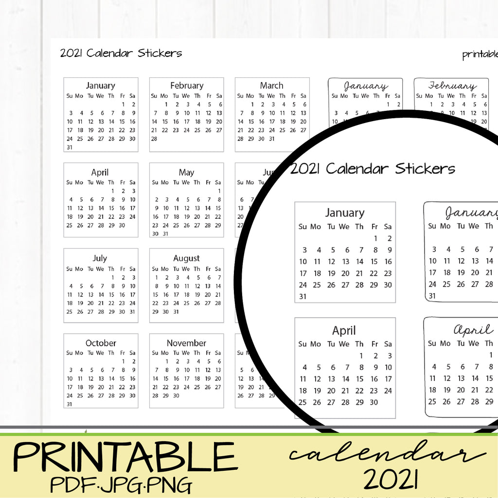 Planner 2021 Mini Calendar Stickers Printable Vertical Happy Planner or Journaling