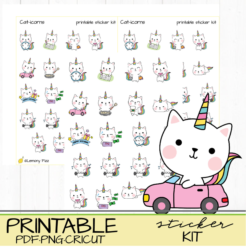Cat-icorns (cat unicorn) Planner Stickers Printable