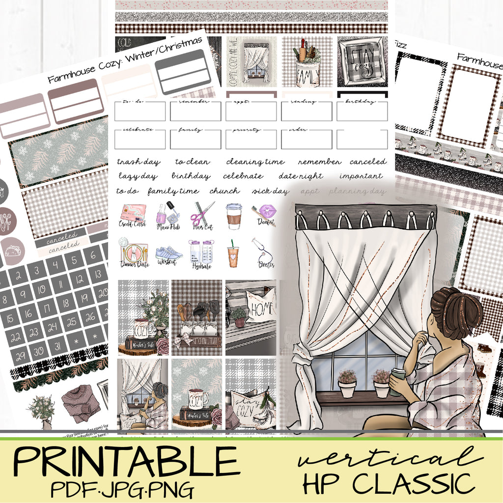 Cozy Farmhouse Winter or Christmas Printable Vertical Happy Planner or Journaling Stickers