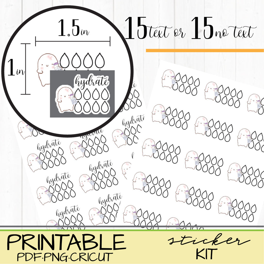 Hydrate Squishy Water Stickers for Happy Planners or Bullet Journals