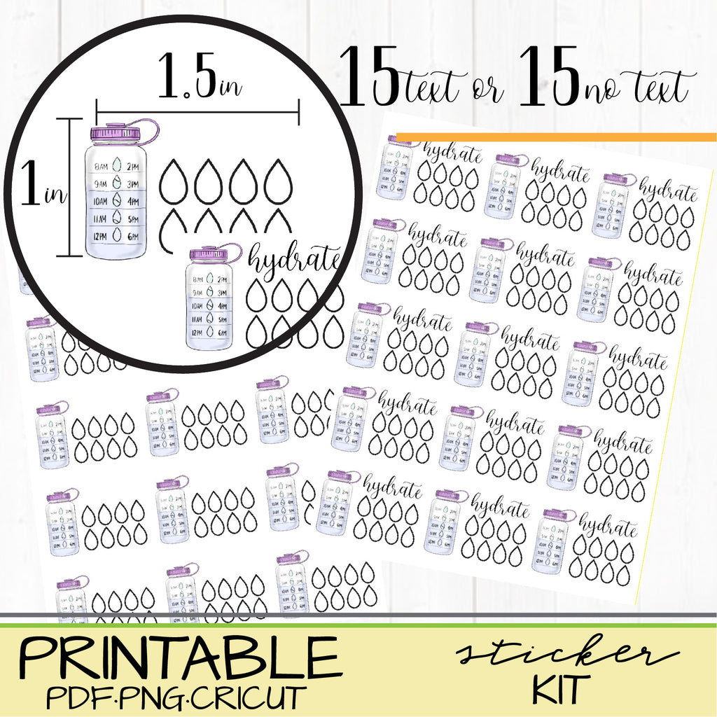 Hydrate Water Stickers for Happy Planners or Bullet Journals