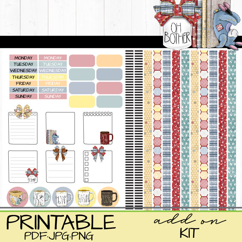 Oh Pooh! Printable Add On Sticker Kit