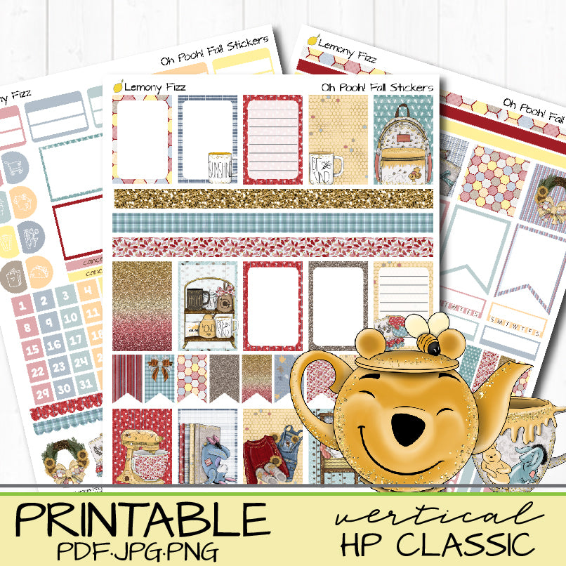 Oh Pooh! Printable Vertical Happy Planner or Bullet Journal Stickers