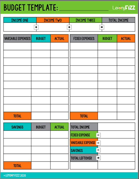 Budget Template and Monthly Expense Printables