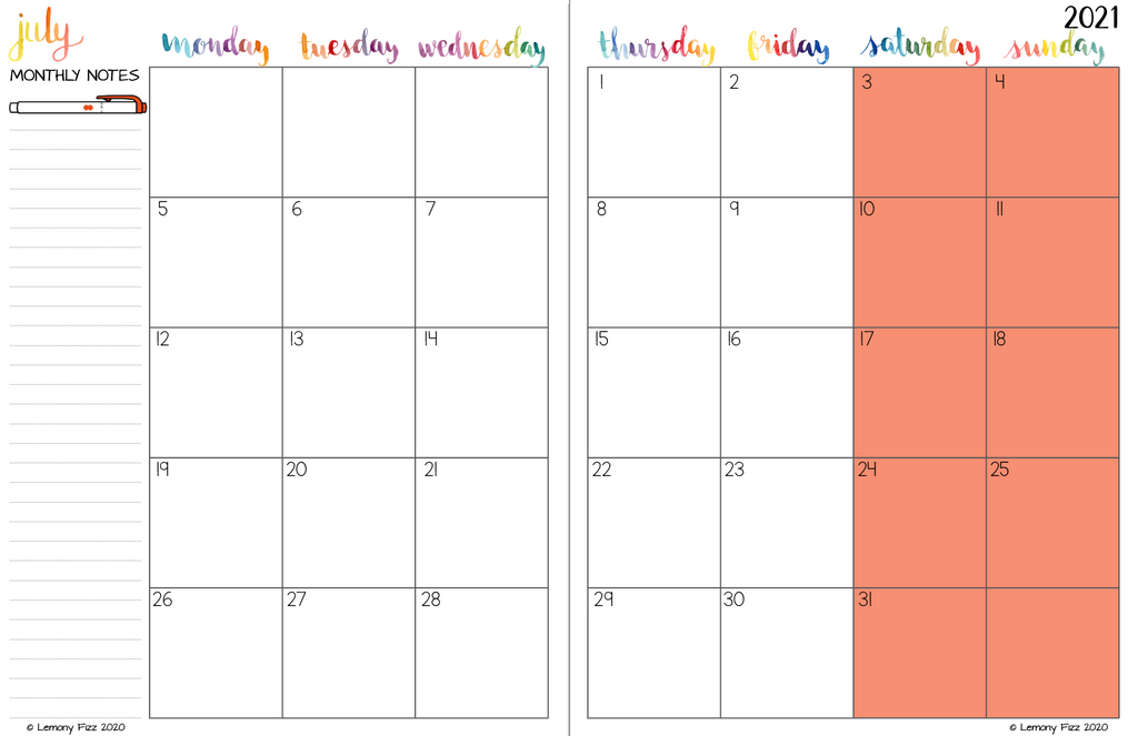 Monday Start 2021 Calendar Pages for Your DIY PLanner