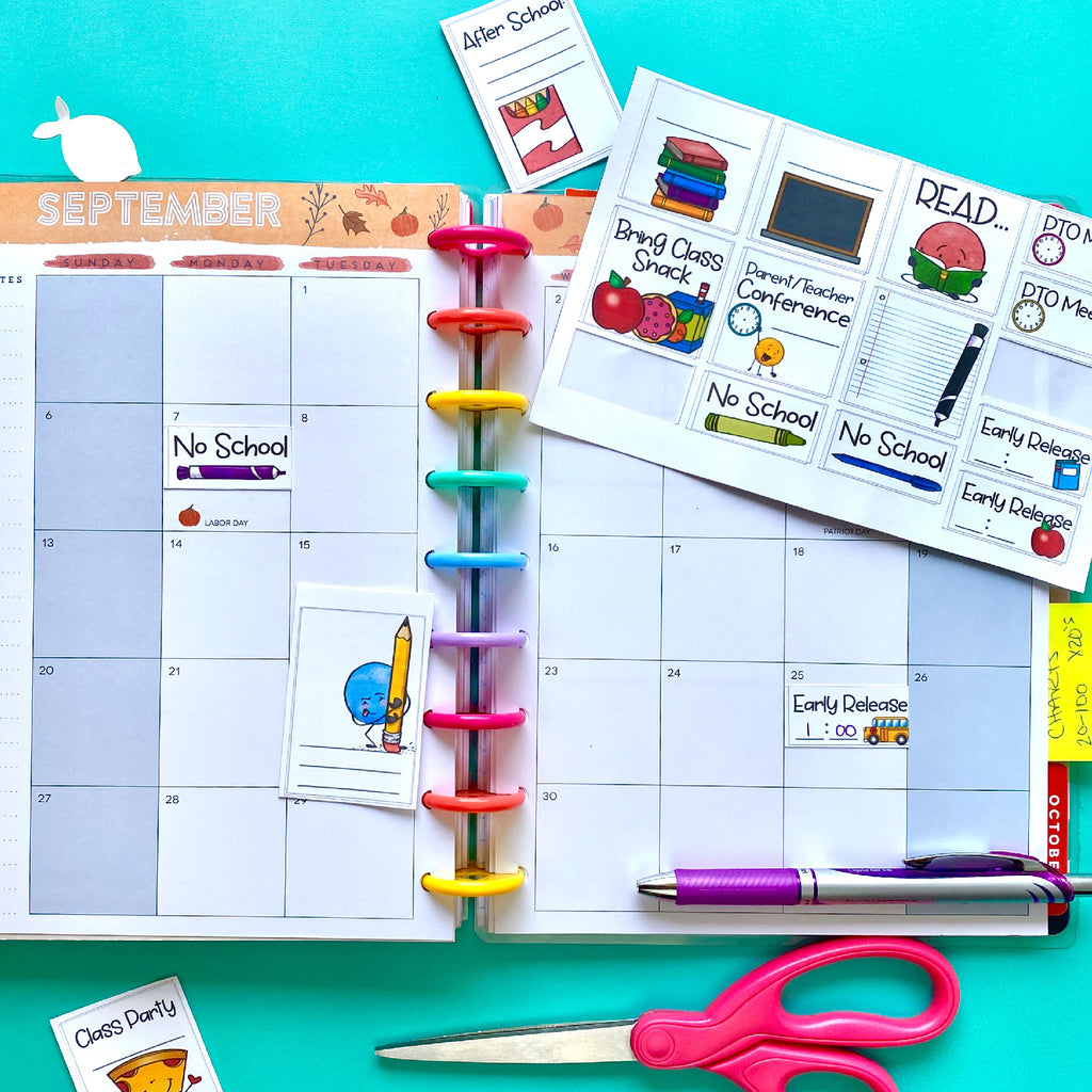Back to School Planner Stickers Cricut Cut File