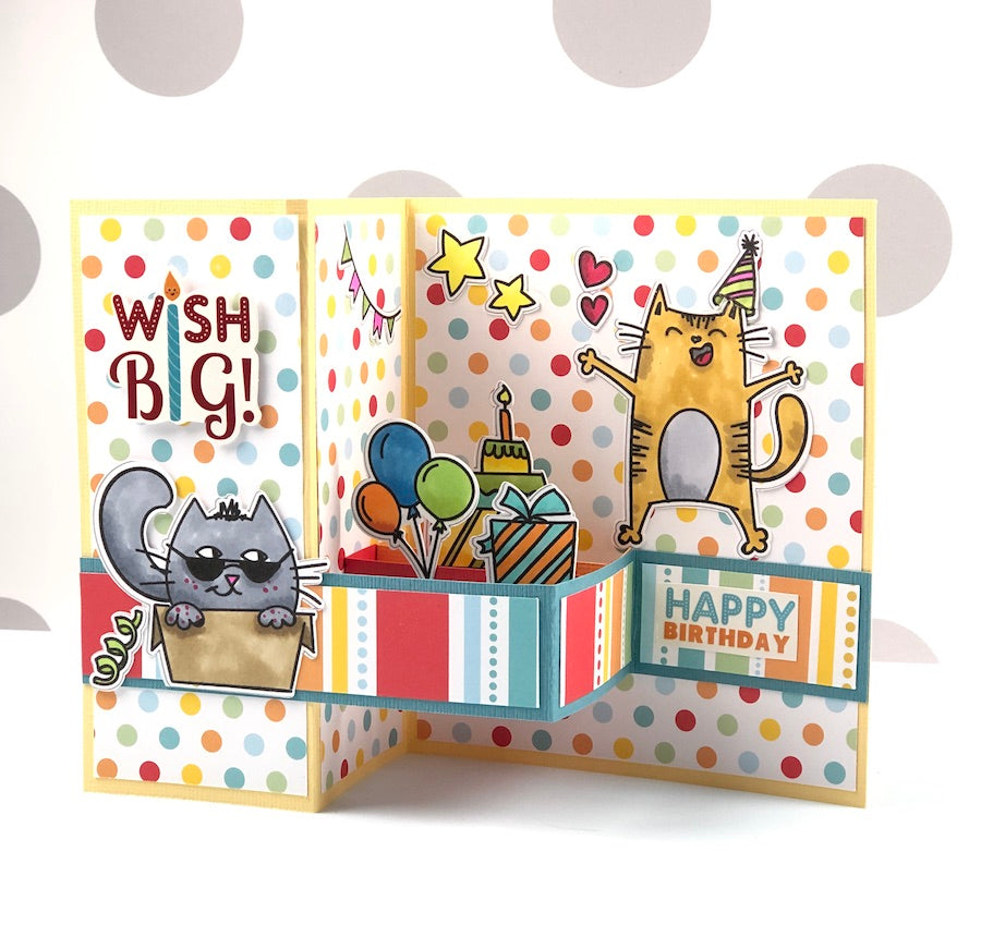 A Cat Birthday Z-Fold Card SVG